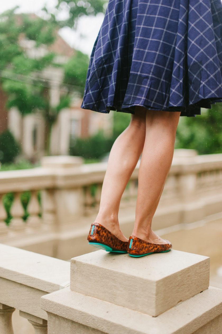 classy wrap dress and Tiek ballet flats: ready for adventure