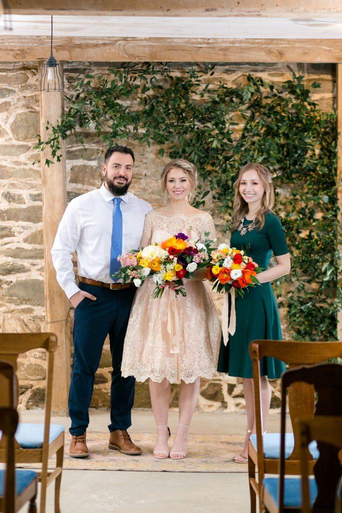 modest, comfortable, simple, dark green bridesmaid dress