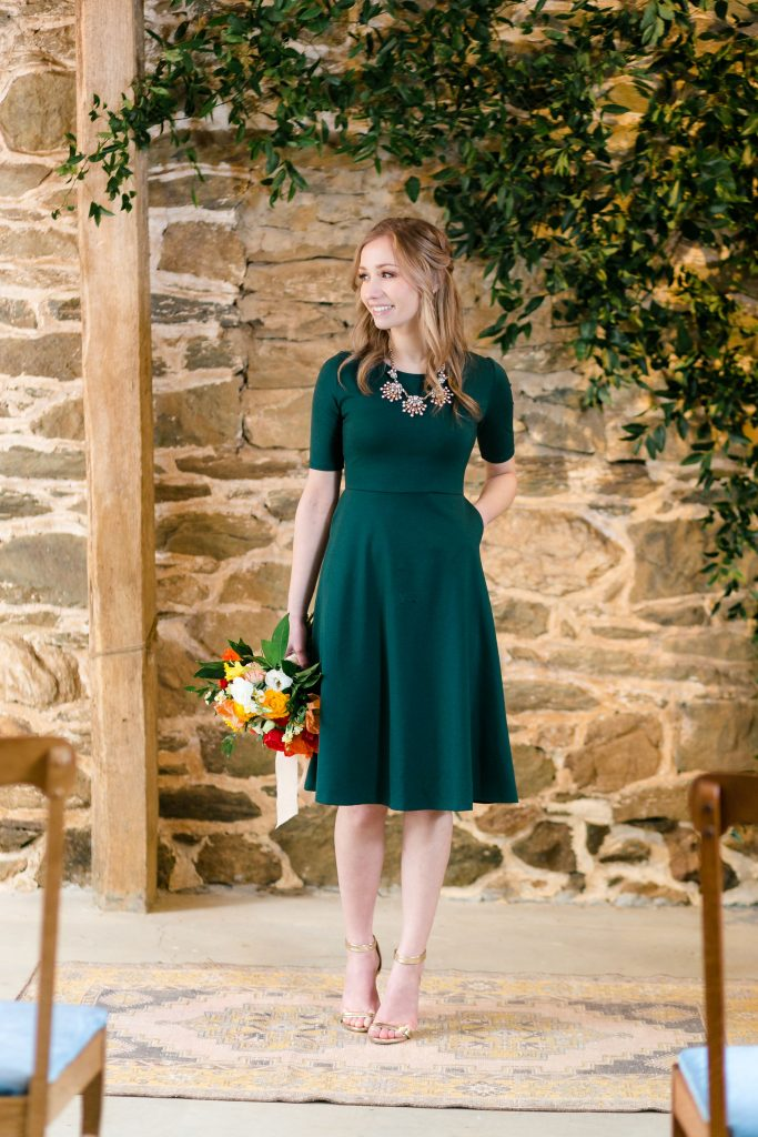 modest, comfortable, simple, dark green bridesmaid dress